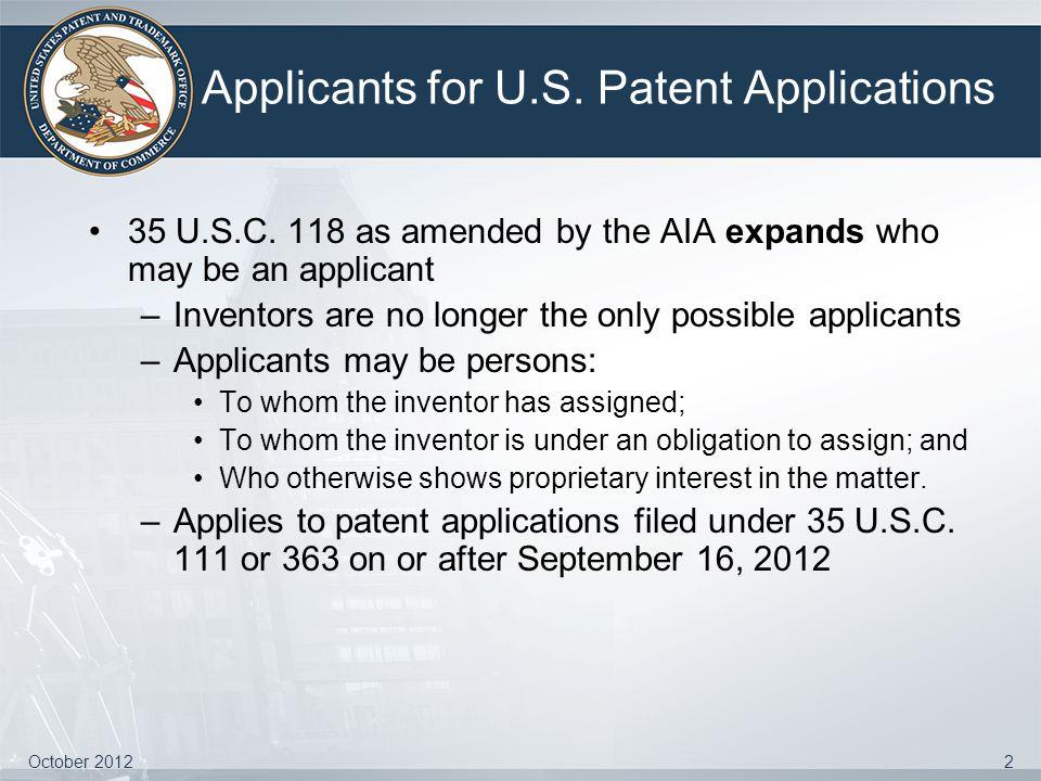 Applicants for U.S. Patent Applications