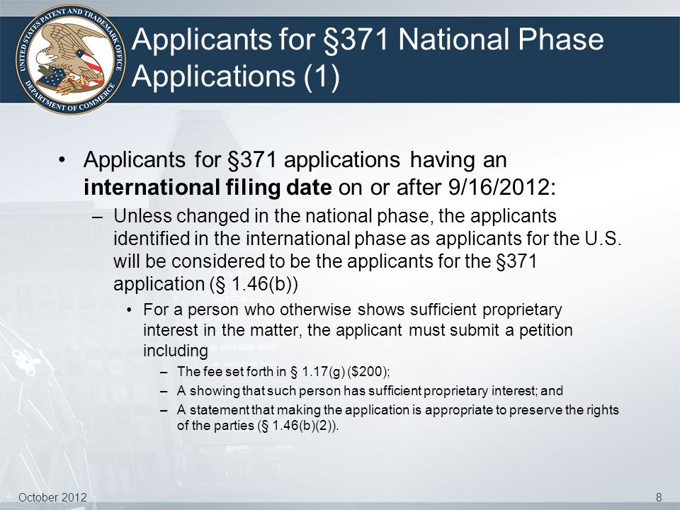 Applicants for §371 National Phase Applications (1)