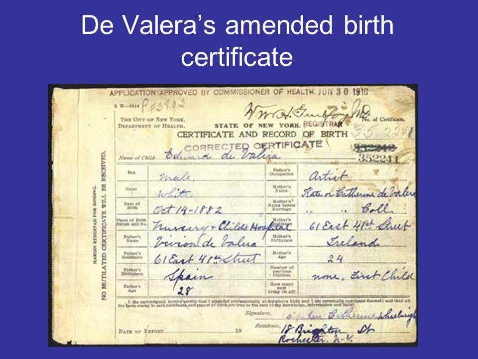 De Valera's amended birth certificate