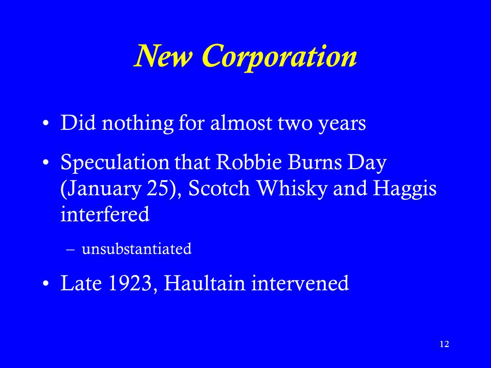 New Corporation Did nothing for almost two years