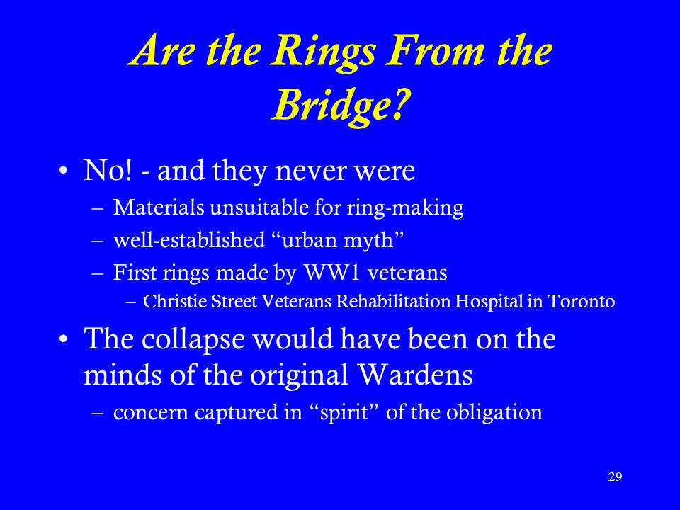 Are the Rings From the Bridge
