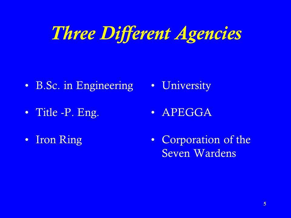Three Different Agencies