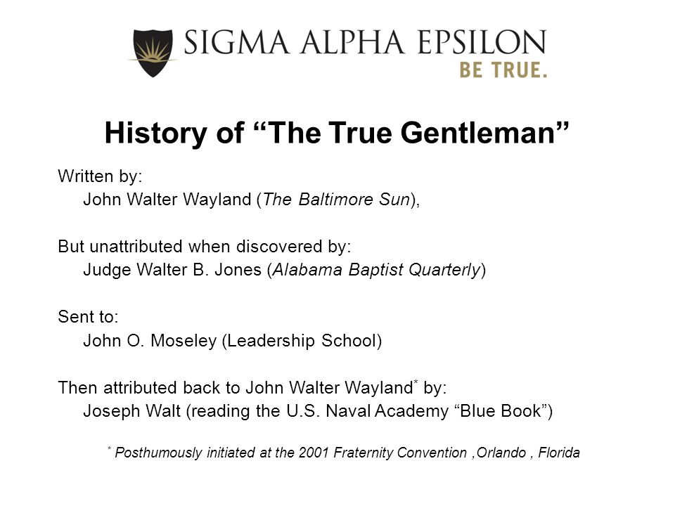 History of The True Gentleman