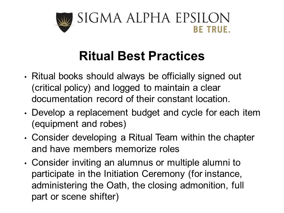 Ritual Best Practices