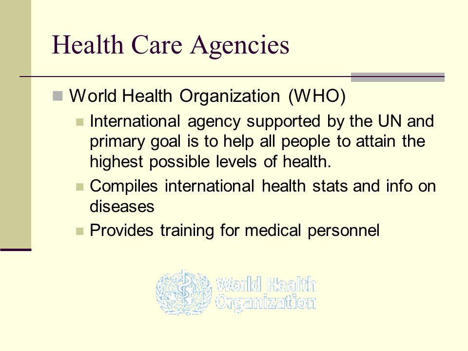 Health Care Agencies World Health Organization (WHO)