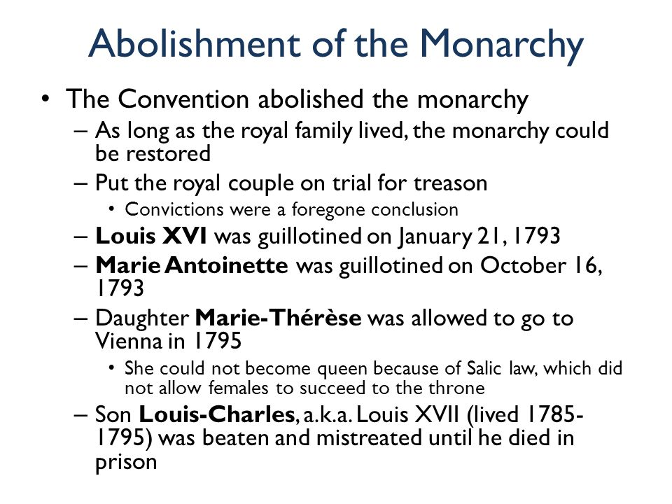 Abolishment of the Monarchy