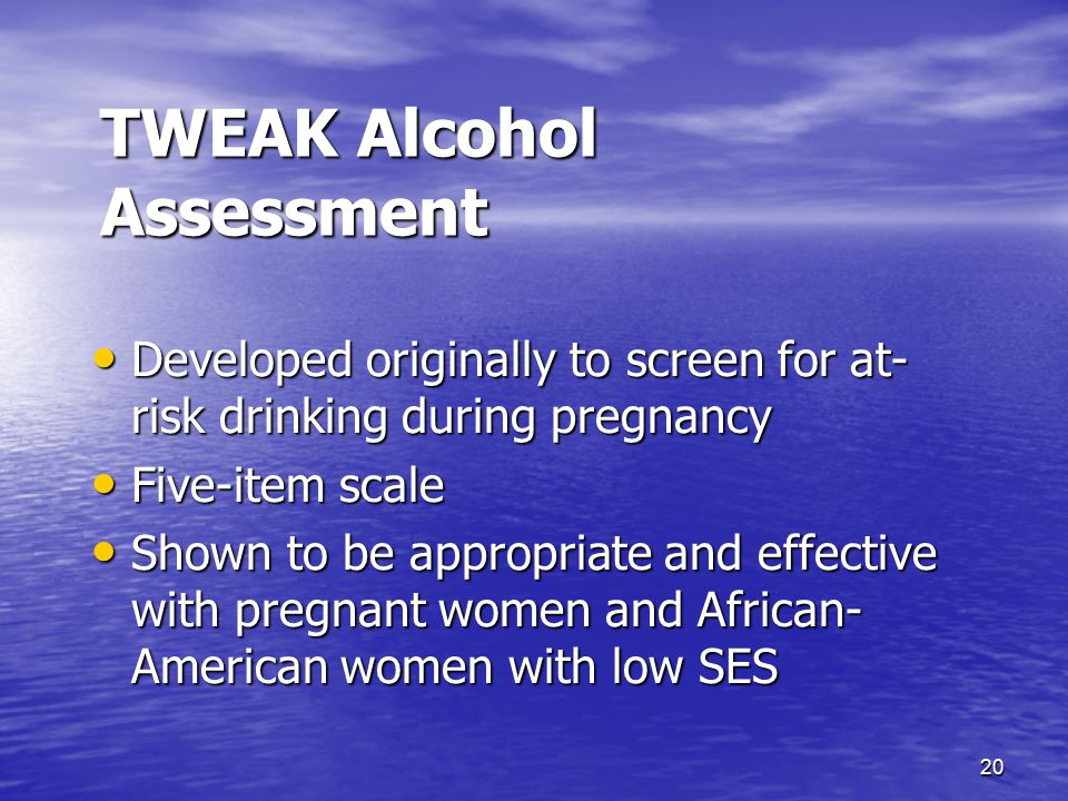 TWEAK Alcohol Assessment