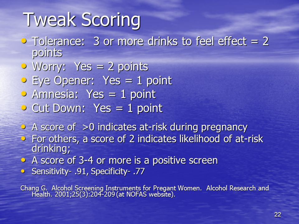 Tweak Scoring Tolerance: 3 or more drinks to feel effect = 2 points