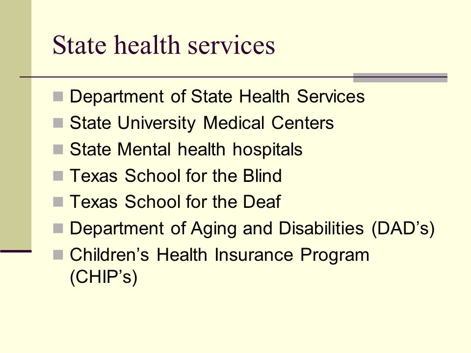 State health services Department of State Health Services