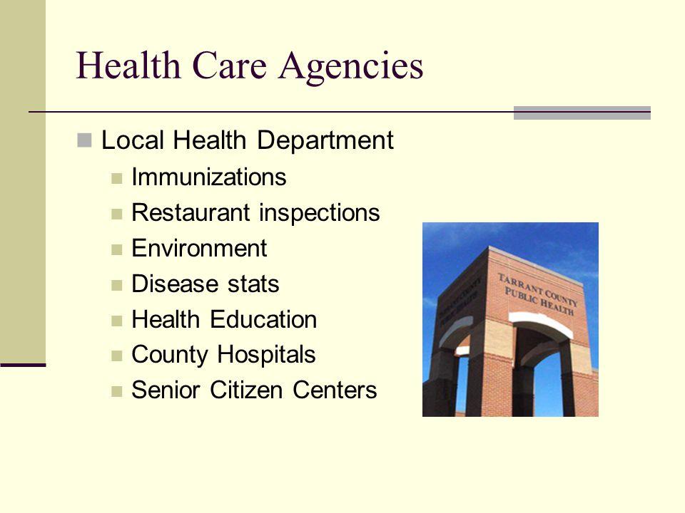 Health Care Agencies Local Health Department Immunizations