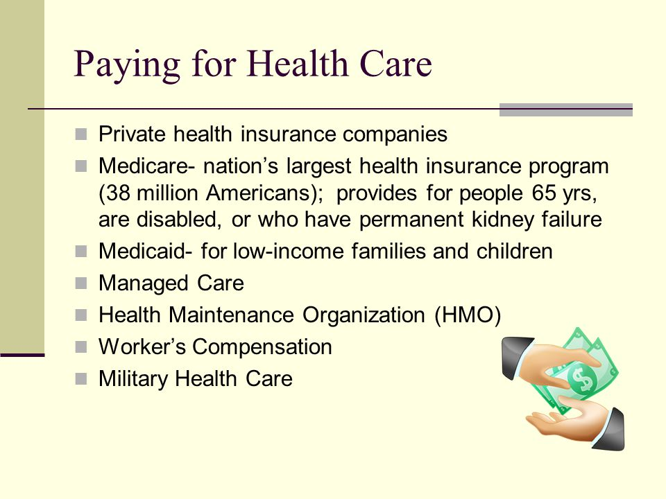 Paying for Health Care Private health insurance companies