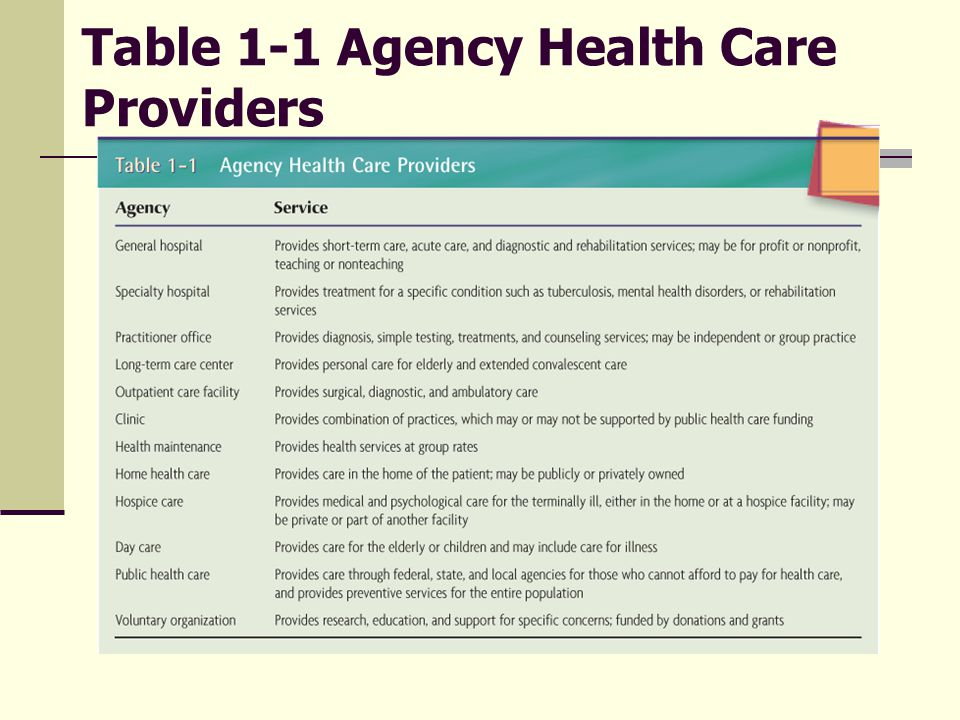 Table 1-1 Agency Health Care Providers