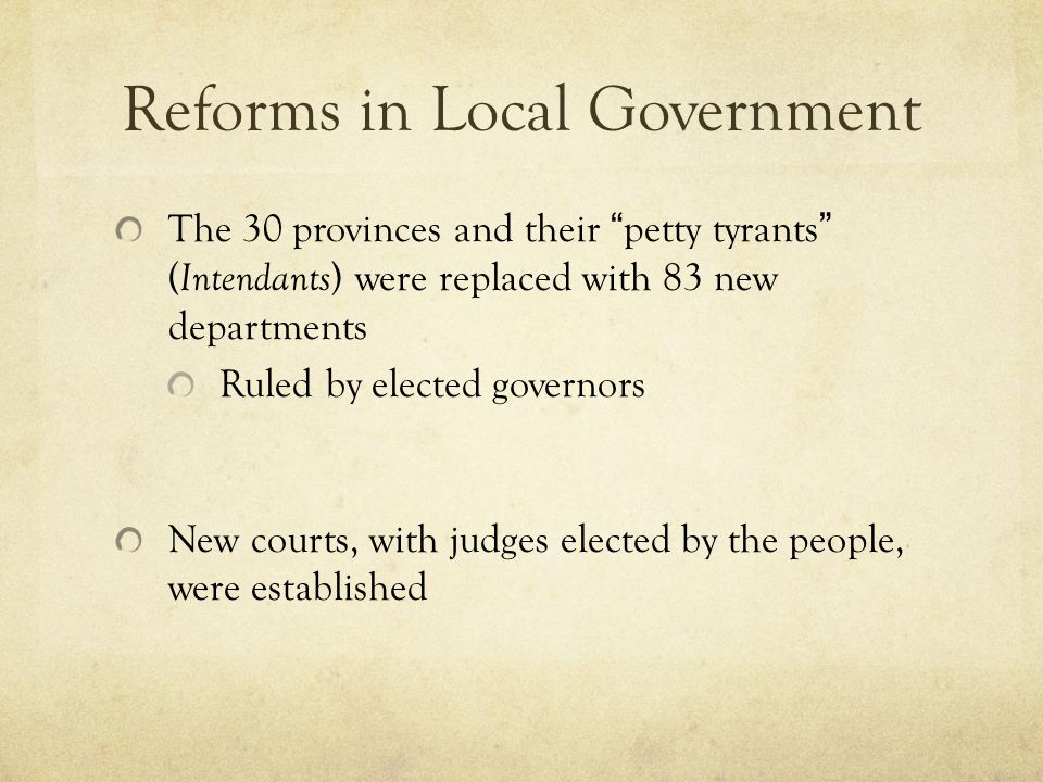 Reforms in Local Government