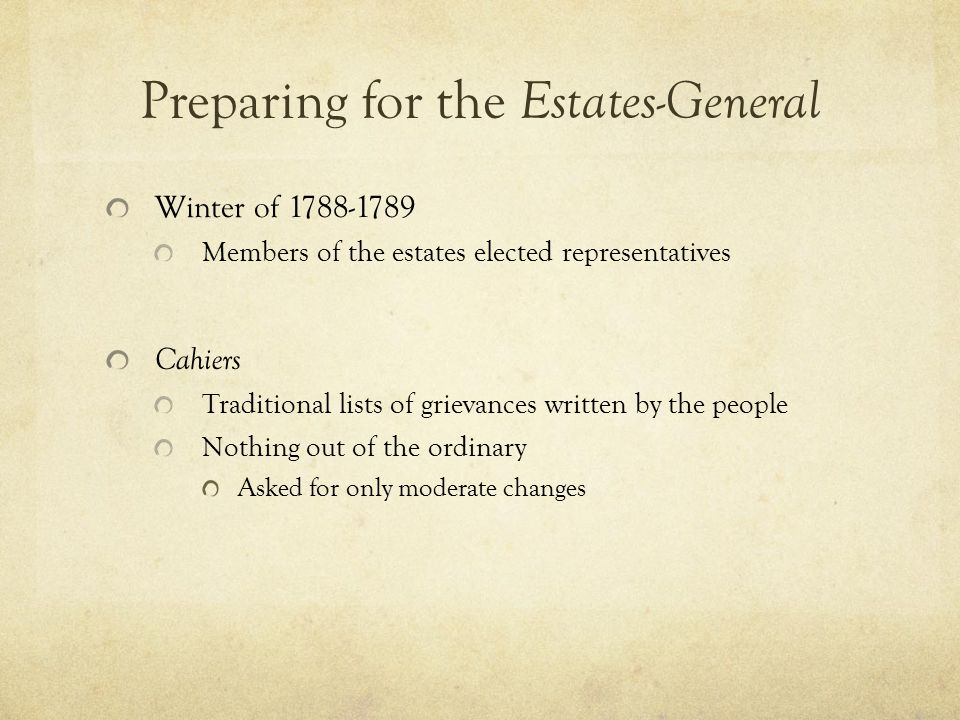 Preparing for the Estates-General