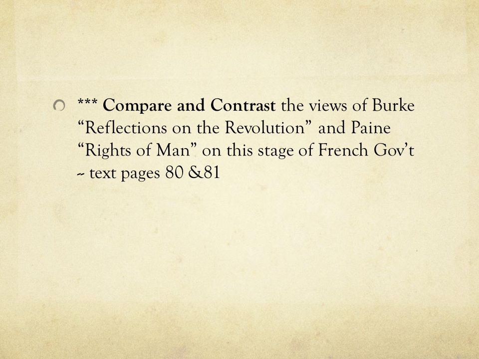 *** Compare and Contrast the views of Burke Reflections on the Revolution and Paine Rights of Man on this stage of French Gov't -- text pages 80 &81
