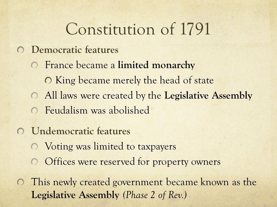 Constitution of 1791 Democratic features