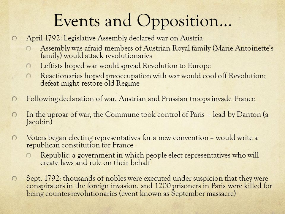 Events and Opposition…