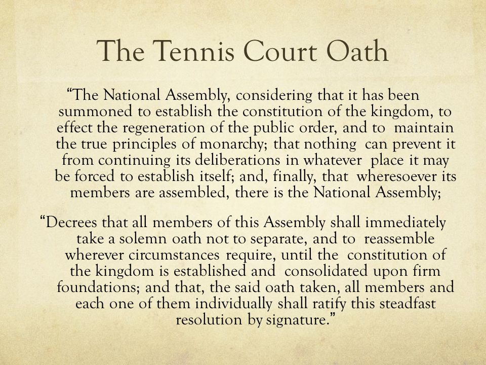 The Tennis Court Oath
