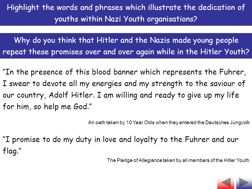 Highlight the words and phrases which illustrate the dedication of youths within Nazi Youth organisations