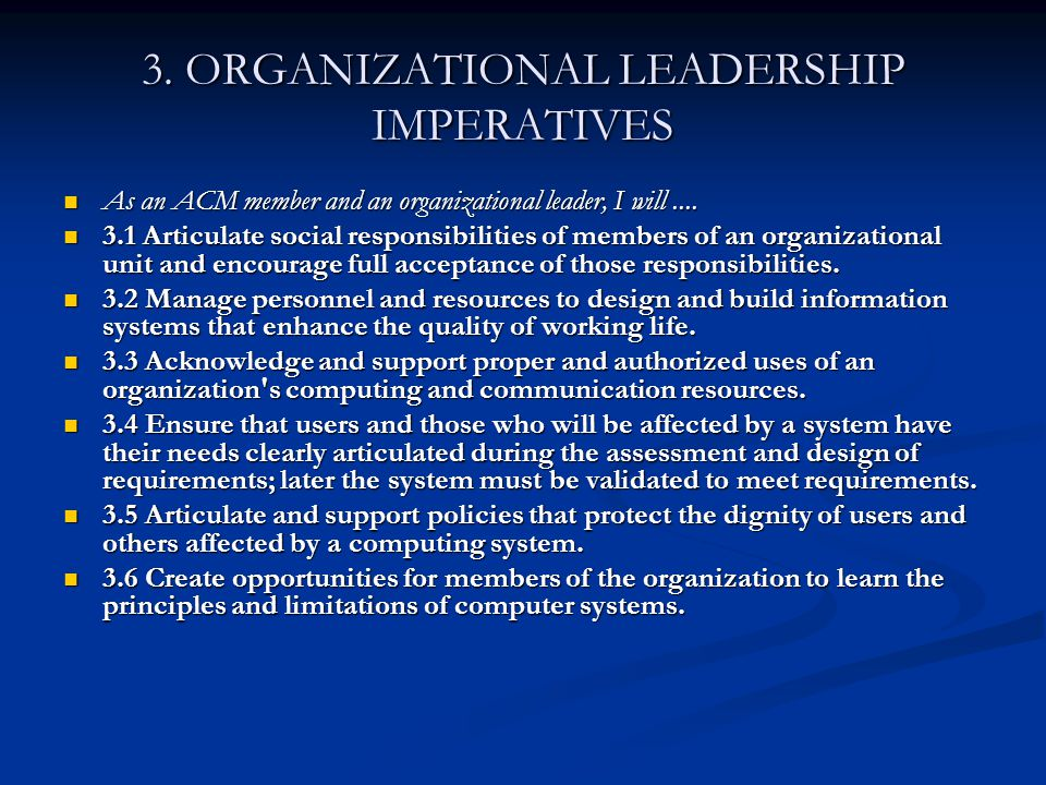 3. ORGANIZATIONAL LEADERSHIP IMPERATIVES