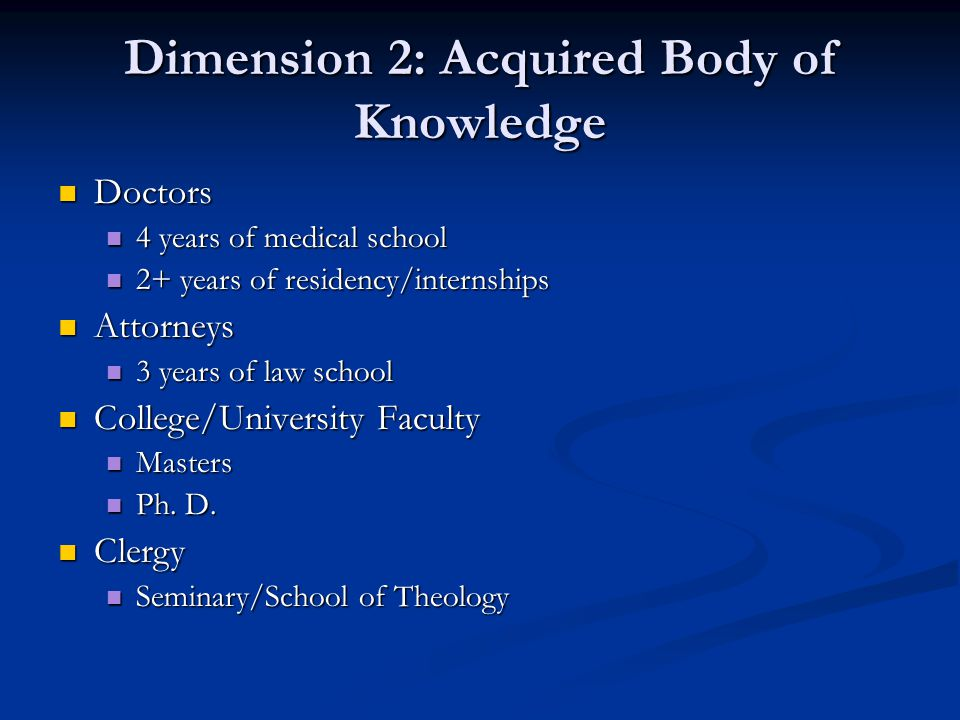 Dimension 2: Acquired Body of Knowledge