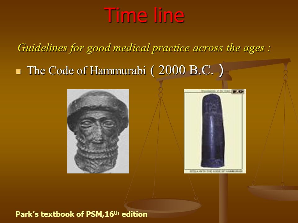 Time line Guidelines for good medical practice across the ages :
