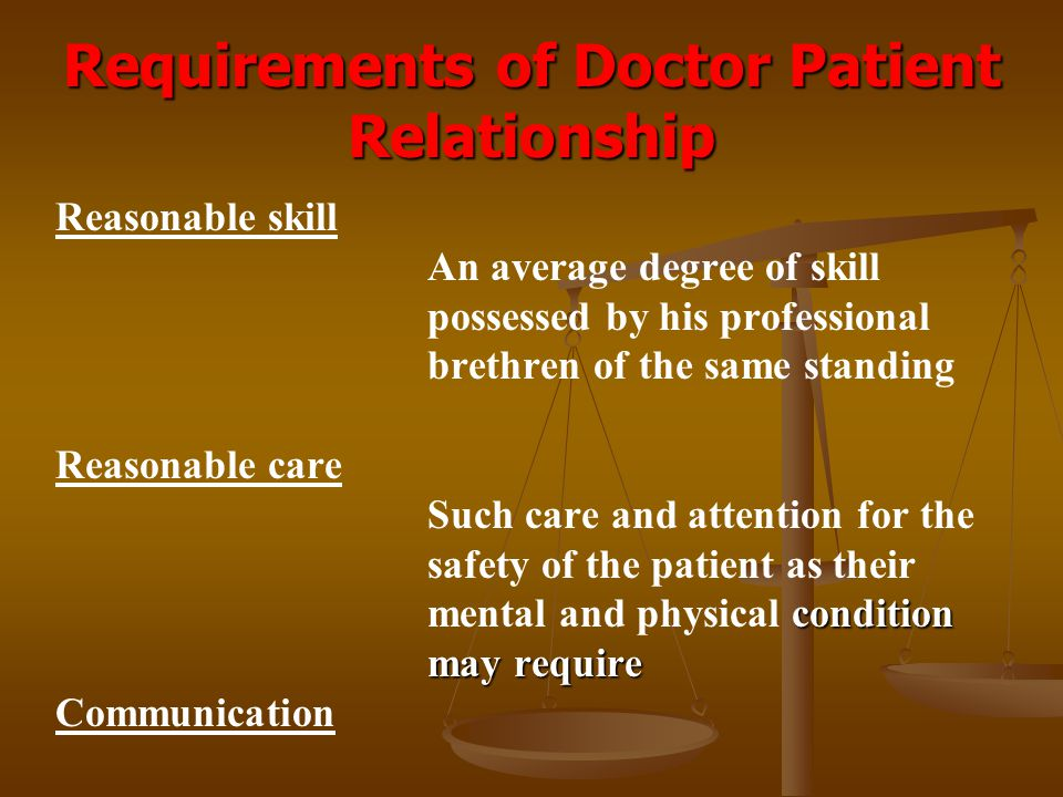 Requirements of Doctor Patient Relationship