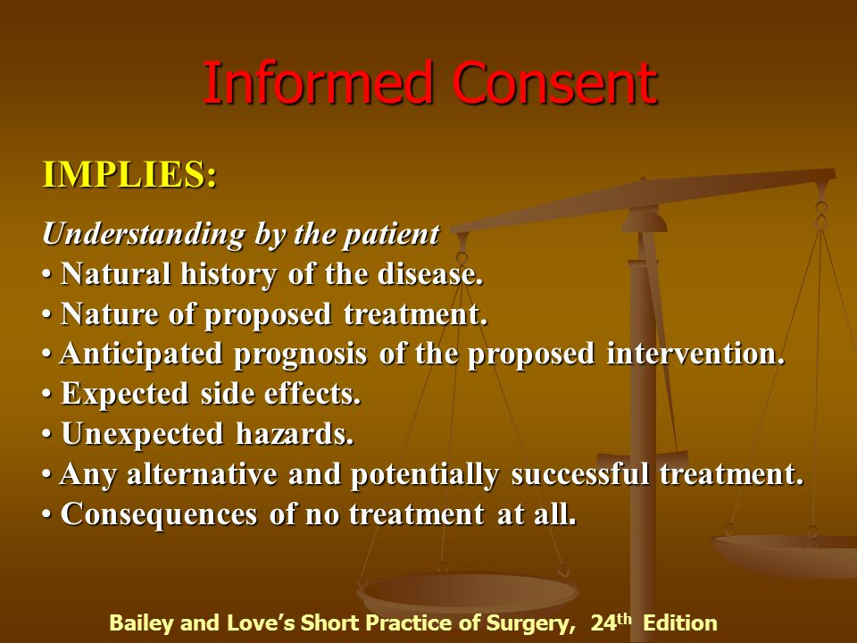 Informed Consent IMPLIES: Understanding by the patient