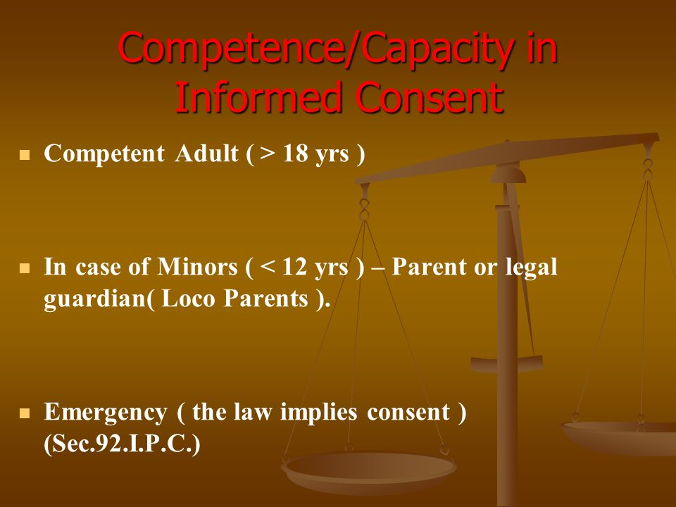 Competence/Capacity in Informed Consent