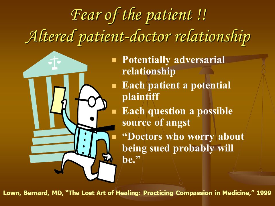 Fear of the patient !! Altered patient-doctor relationship