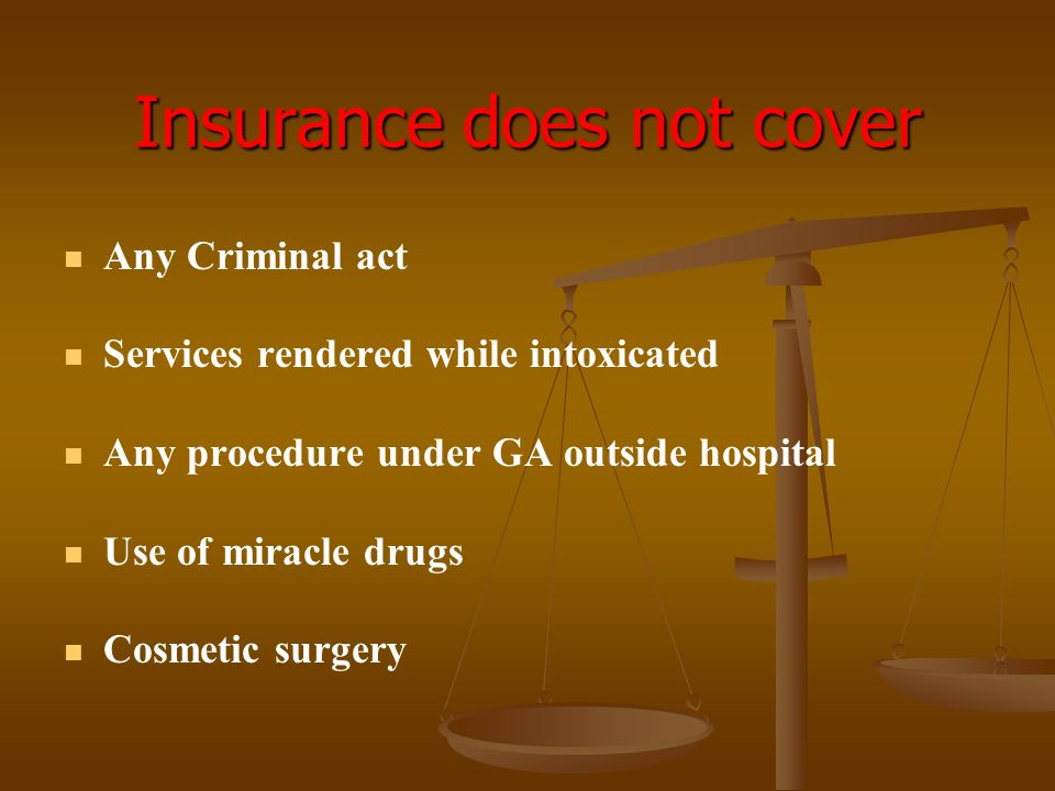 Insurance does not cover