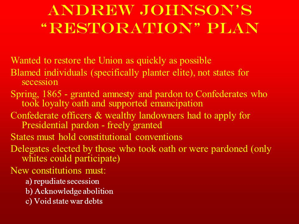 Andrew Johnson's Restoration Plan