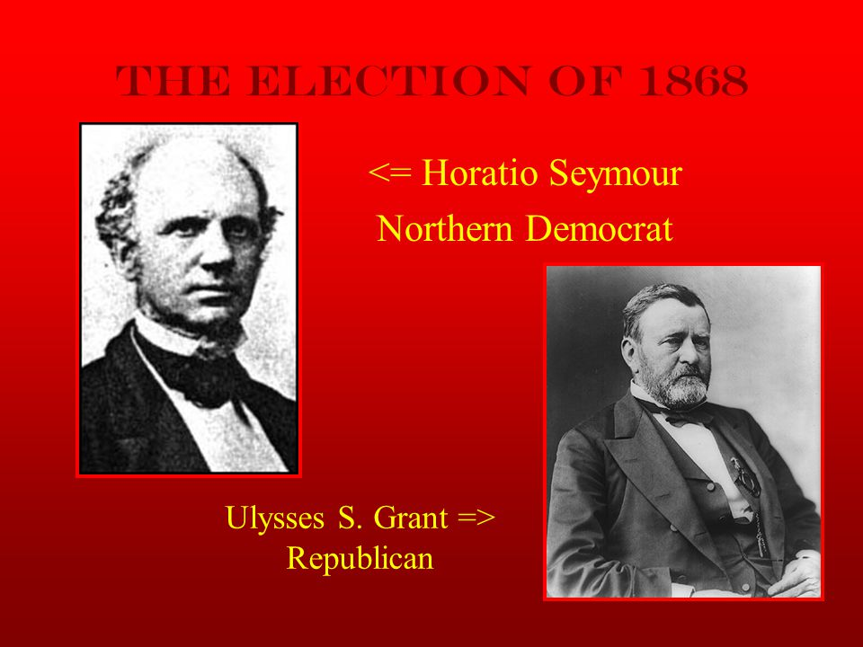 The Election of 1868 <= Horatio Seymour Northern Democrat
