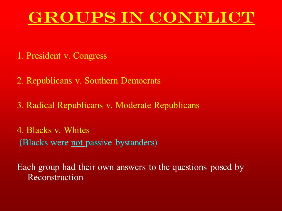 Groups in Conflict 1. President v. Congress