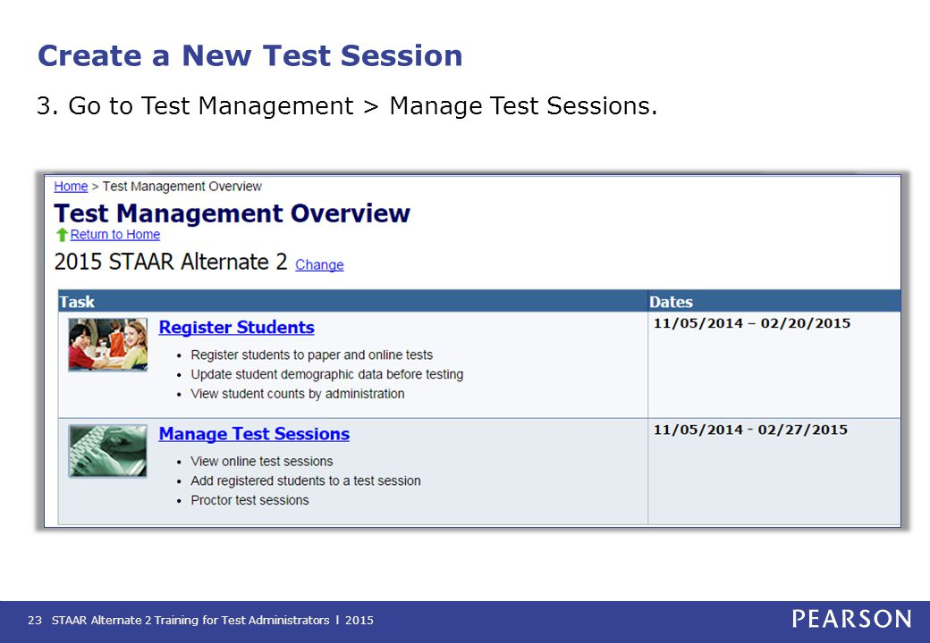 Create a New Test Session