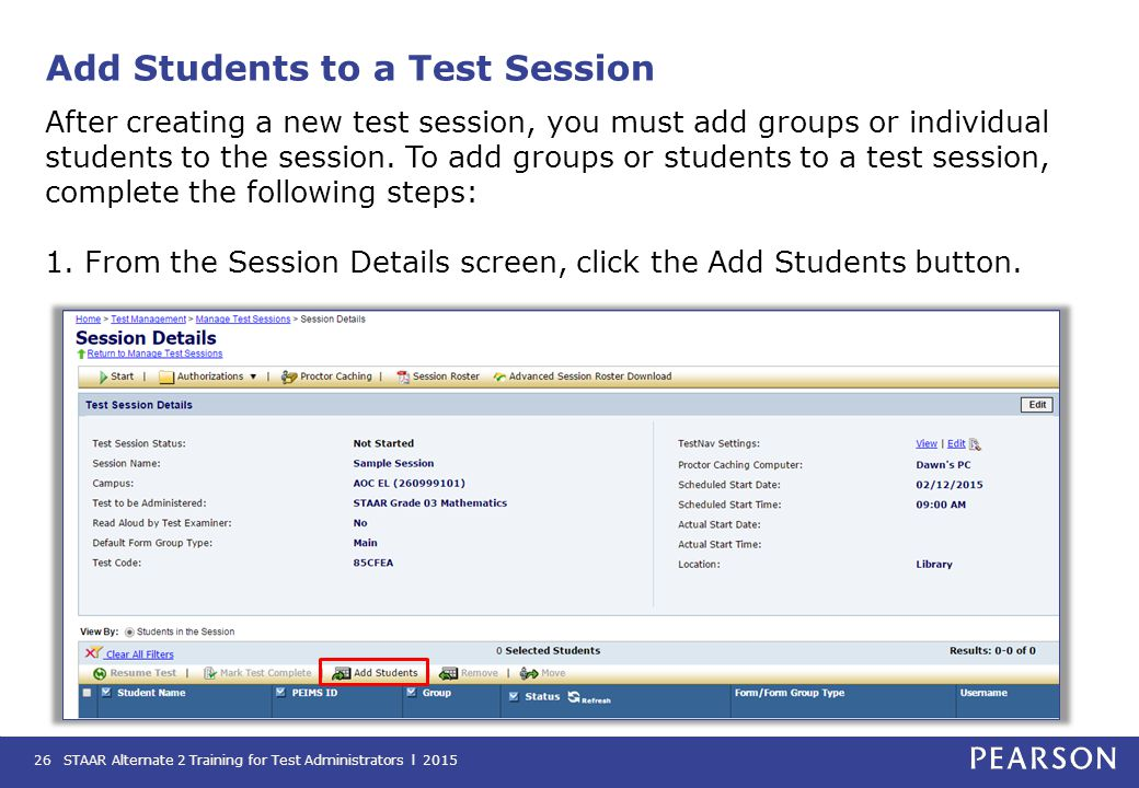 Add Students to a Test Session