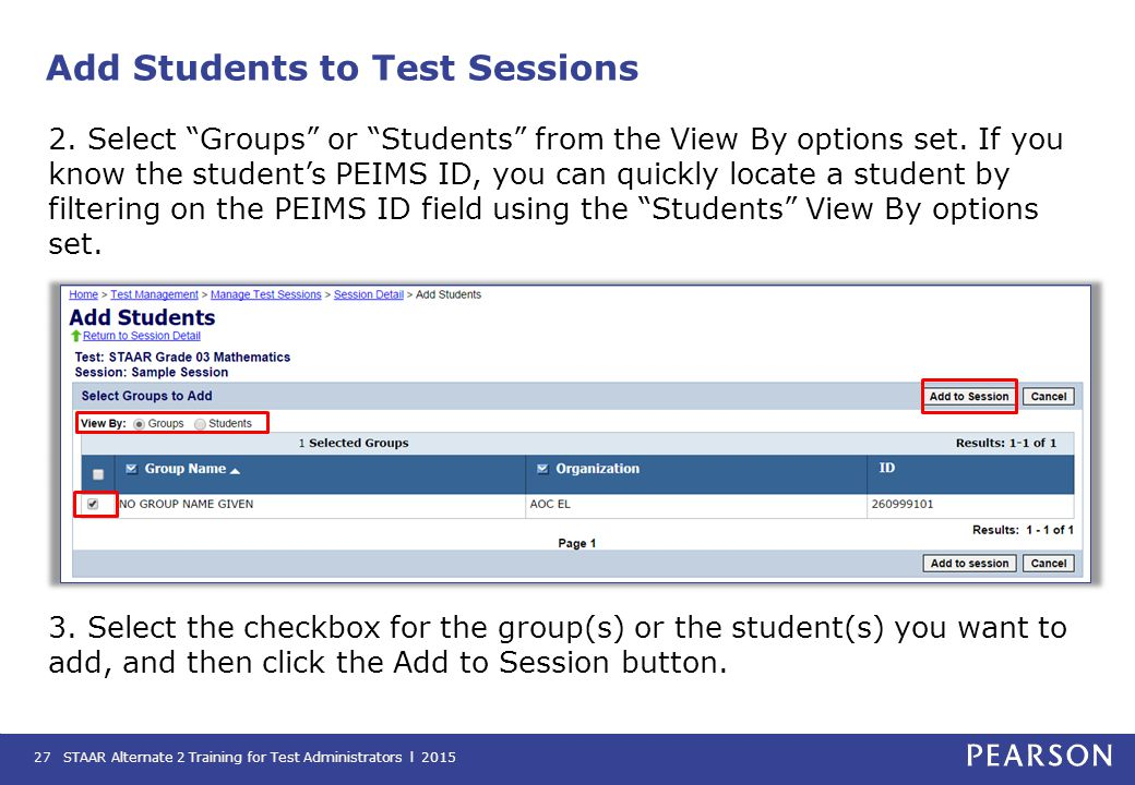 Add Students to Test Sessions