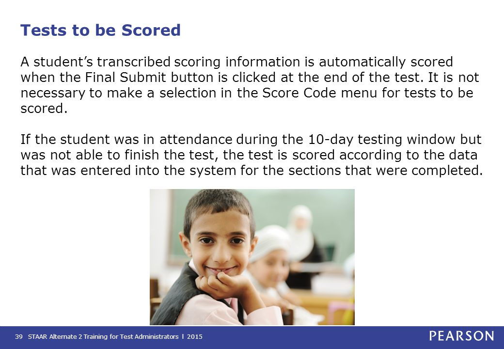 Tests to be Scored