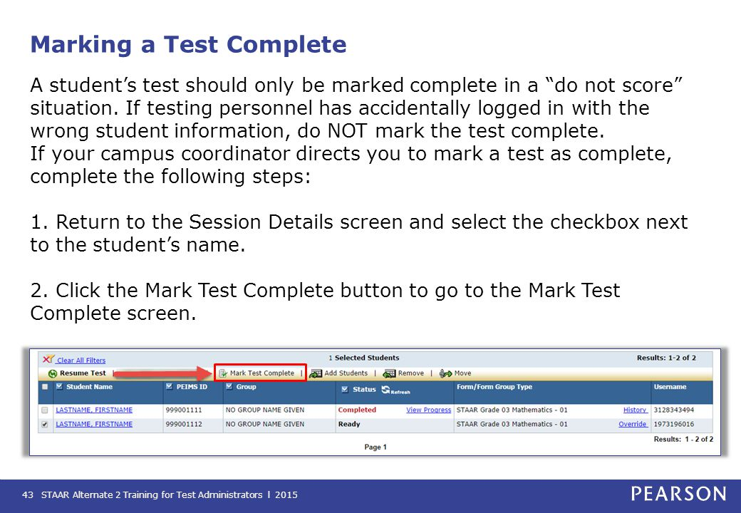 Marking a Test Complete