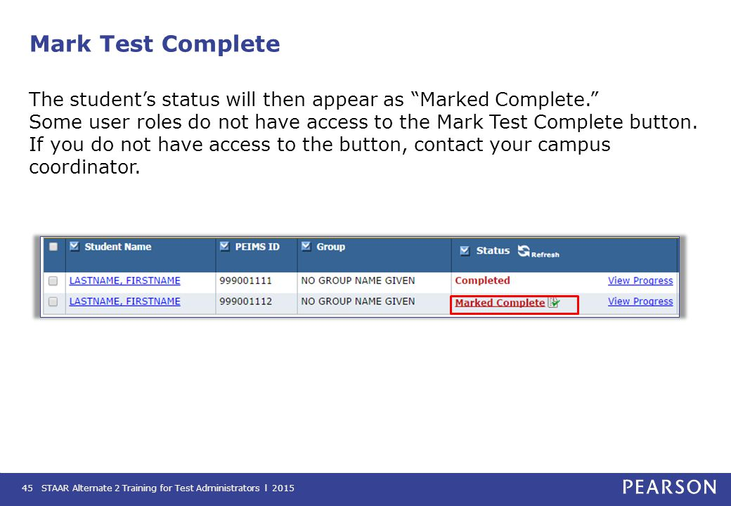 Mark Test Complete
