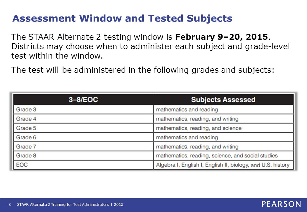 Assessment Window and Tested Subjects