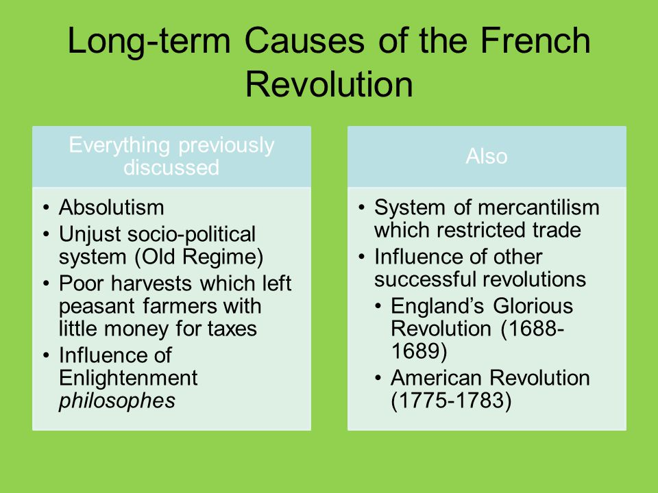 short and long term causes of the french revolution essay Essays from bookrags provide great ideas for revolution essays and paper this student essay consists of approximately 5 pages of analysis of causes of revolutions the american and french and russian revolutions are prime examples of these causes and effects before the french.
