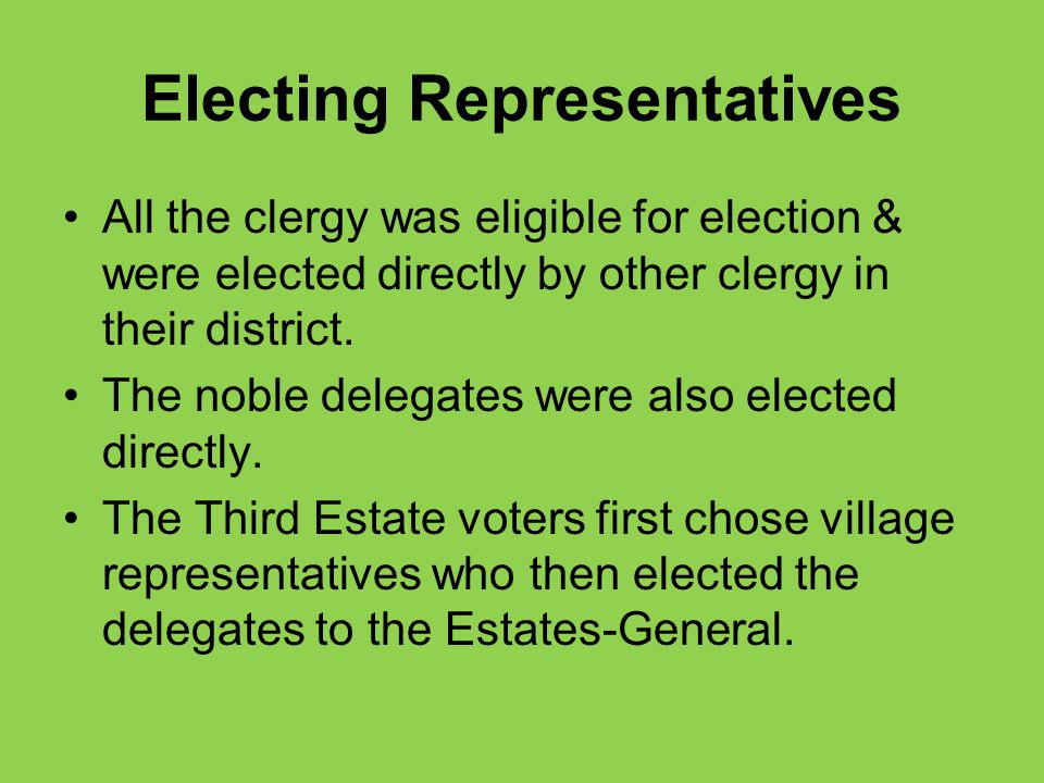 Electing Representatives