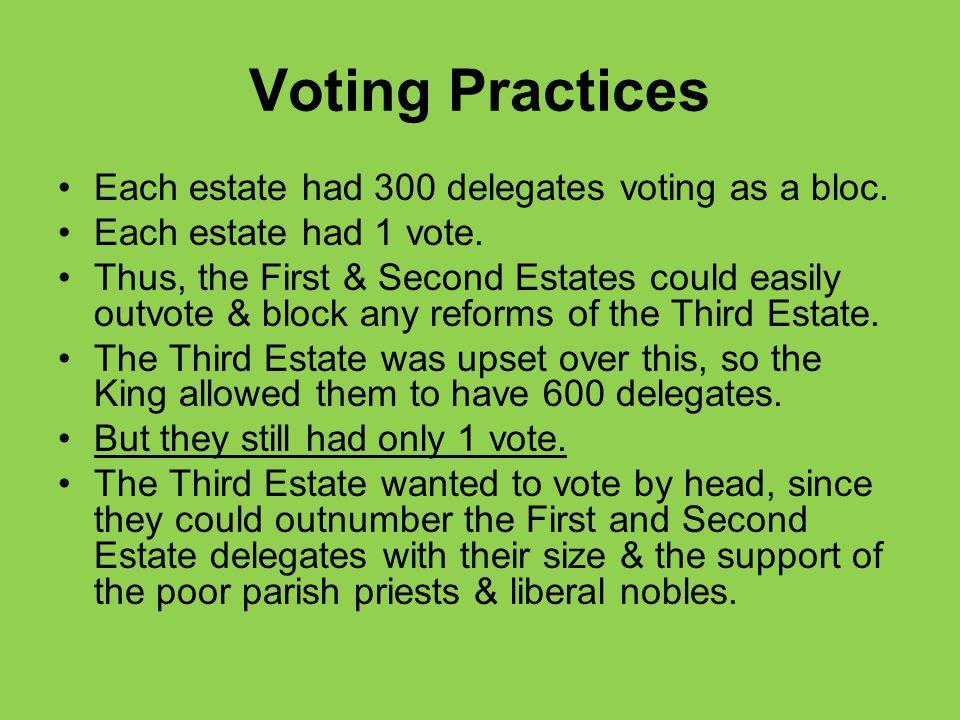 Voting Practices Each estate had 300 delegates voting as a bloc.