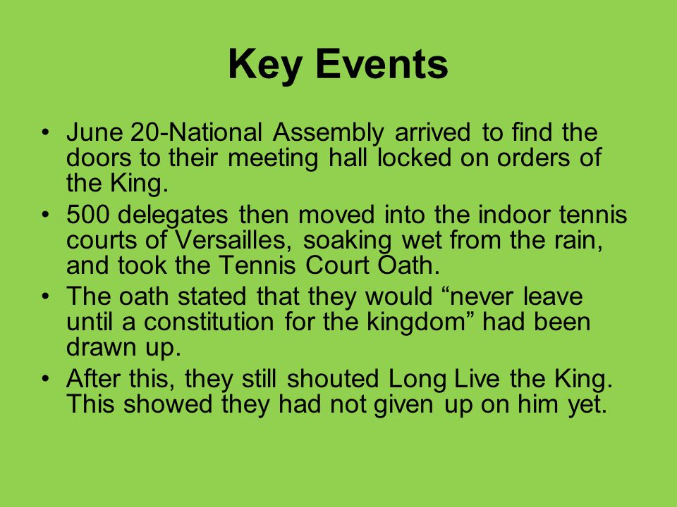 Key Events June 20-National Assembly arrived to find the doors to their meeting hall locked on orders of the King.