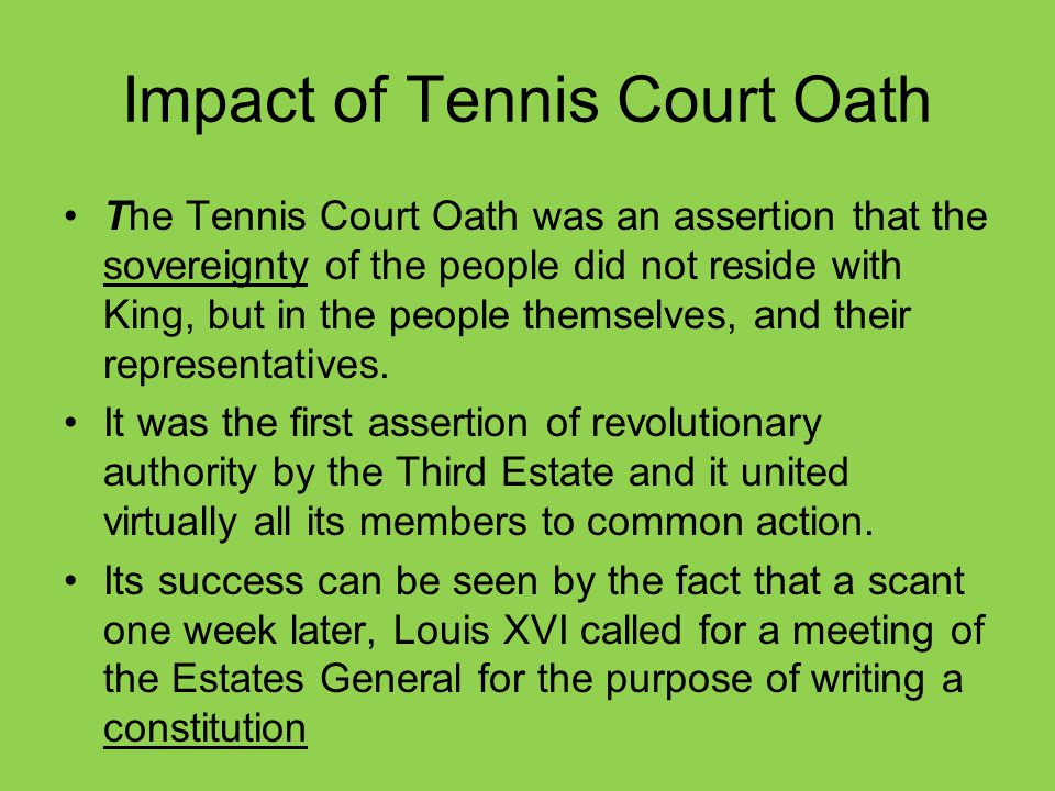 Impact of Tennis Court Oath