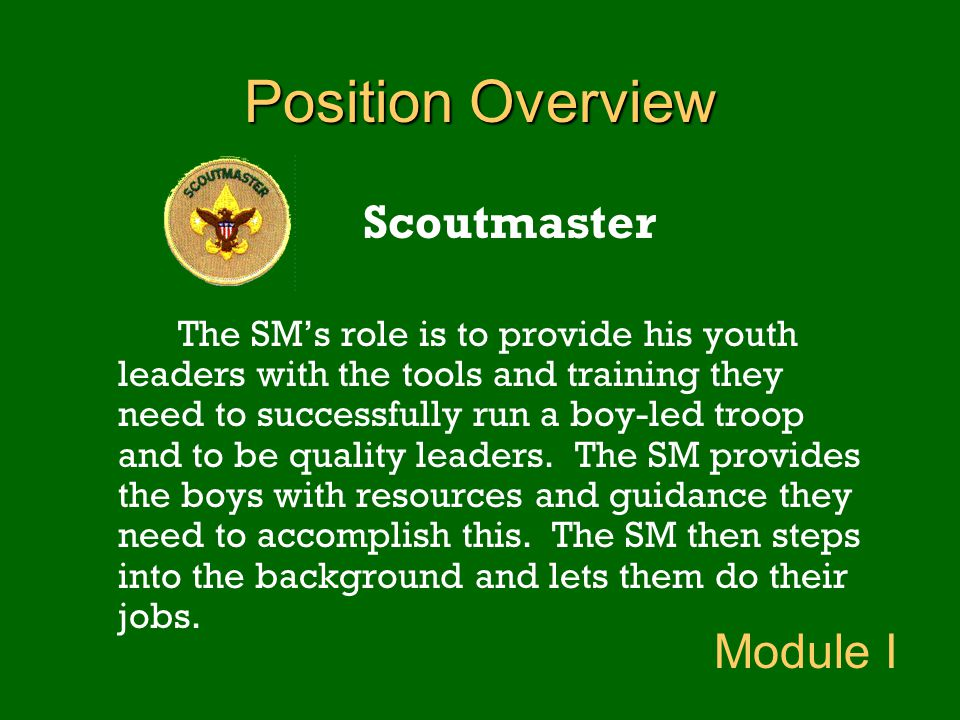Position Overview Scoutmaster Module I