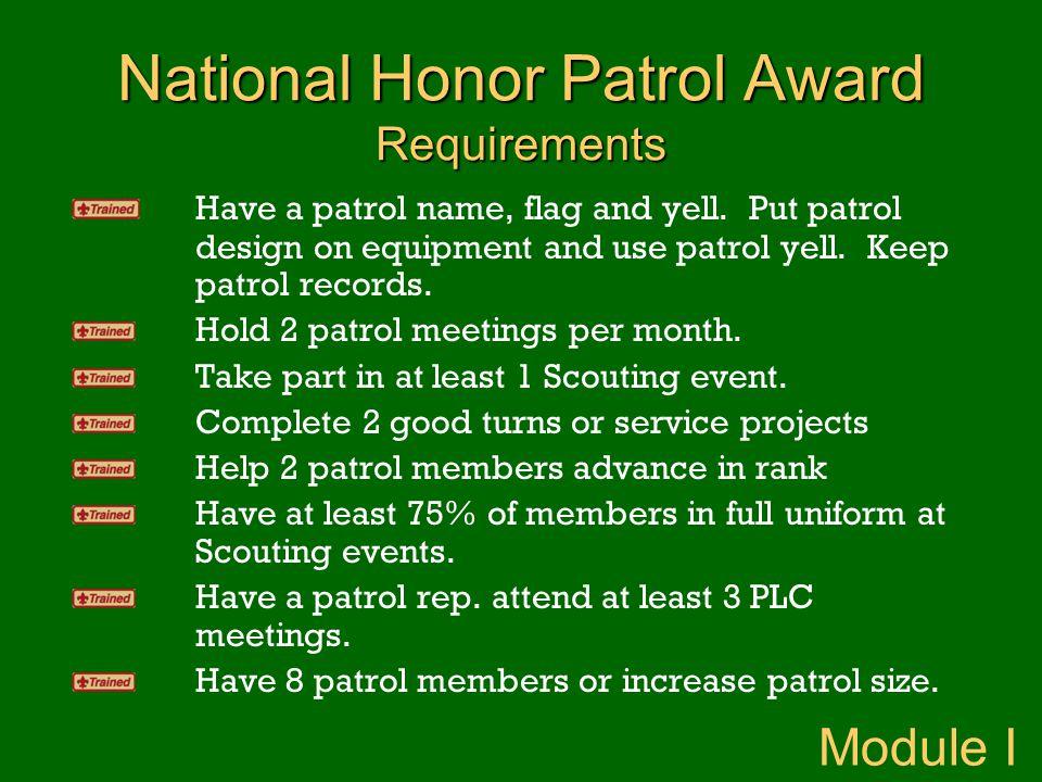 National Honor Patrol Award Requirements