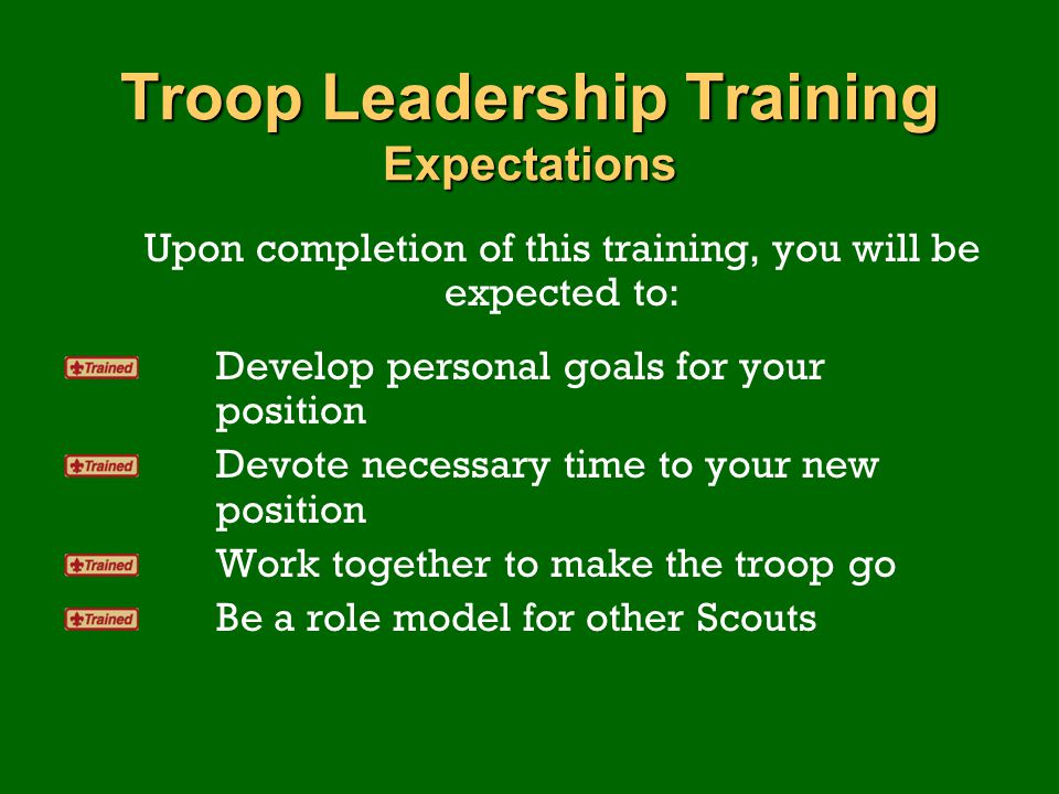 Troop Leadership Training Expectations