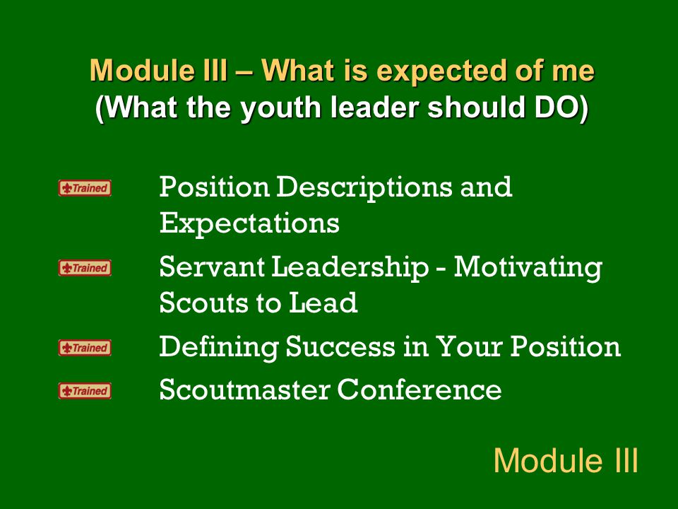 Module III – What is expected of me (What the youth leader should DO)
